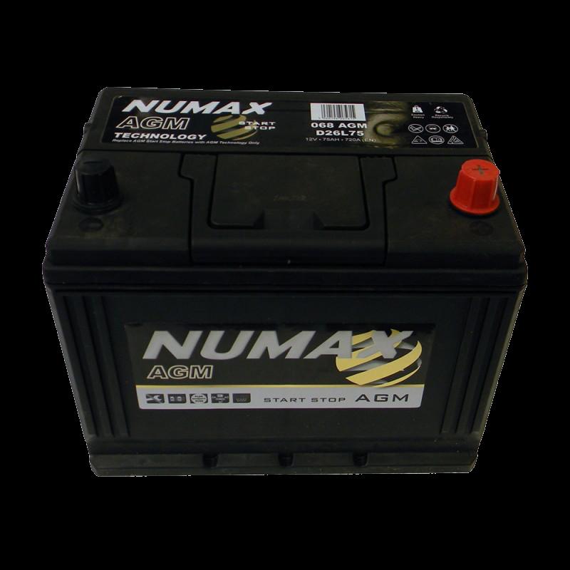 BATTERIE NUMAX AGM (068AGM)<br>12 V 75 AH 720 (EN)+D
