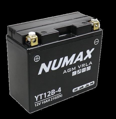 BATTERIE NUMAX MOTO (YT12B-4) AGM 12V 10AH 210EN +G