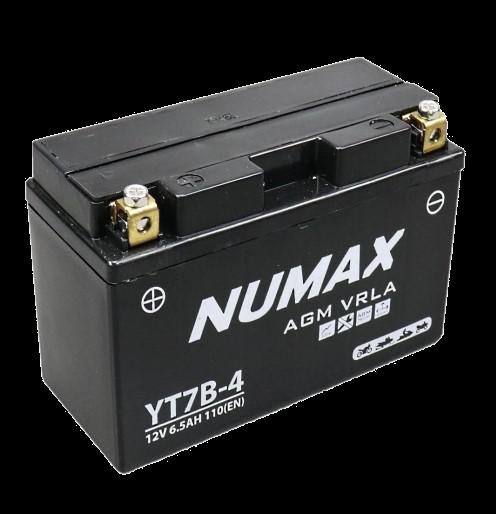 BATTERIE NUMAX MOTO (YT7B-4) AGM 12V 6.5AH 110EN +G