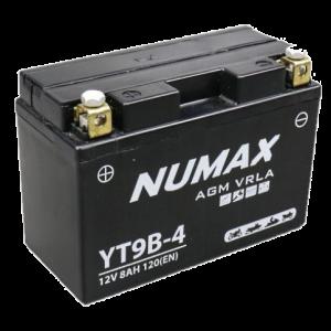BATTERIE NUMAX MOTO (YT9B-4) AGM 12V 8AH 120EN +G
