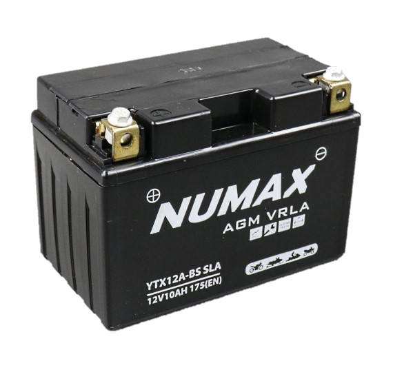 BATTERIE NUMAX MOTO (YTX12A-BS SLA) AGM 12V 10AH 175EN +G