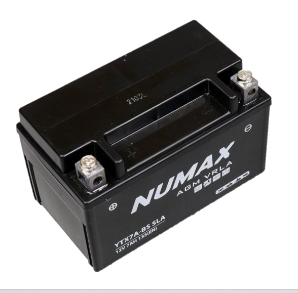 BATTERIE NUMAX MOTO (YTX7A-BS SLA) AGM 12V 7AH 135EN +D