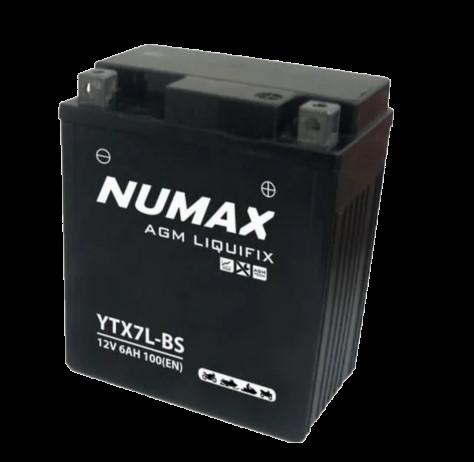 BATTERIE NUMAX MOTO (YTX7L-BS SLA) AGM 12V 7AH 135EN +D